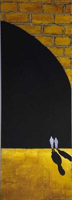 Mondlicht   ...   Acryl und Steinmehle auf Leinwand   ...   50 x 150 cm
