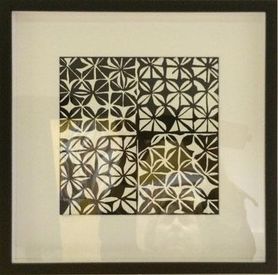 Linoldruck im schwarzen Rahmen   ...   30 x 30 cm