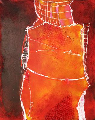Rote Form   ...   Acryl und Strukturmaterialien auf Leinwand   ...   80 x 100 cm