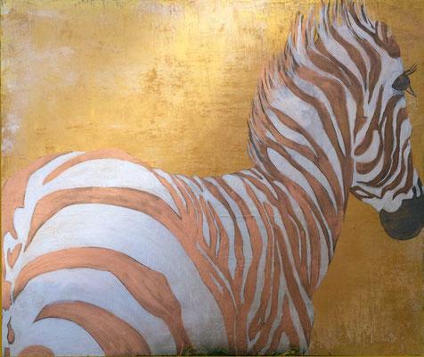 Zebra-gold   ...   Acryl auf Leinwand   ...   120 x 100 cm