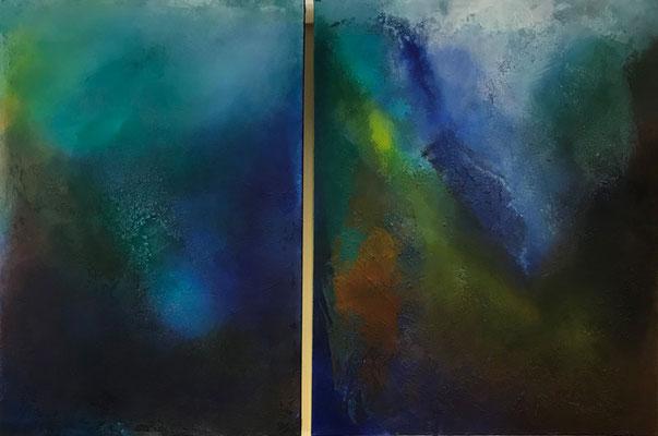 Sphären 1 + 2   ...   Acryl und Steinmehle auf Leinwand   ...   70 x 100 und 80 x 100 cm