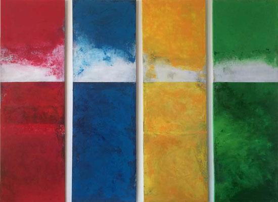 Polyptychon   ...   Acryl auf Leinwand   ...   4 x 50 x 150 cm