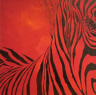 Zebra-in-rot   ...   Acryl auf Leinwand   ...   50 x 50 cm