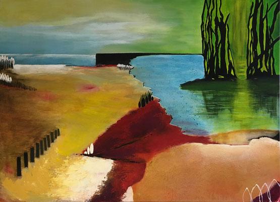 Zwei Meere   ...   Acryl und Öl auf Leinwand   ...   140 x 80 cm