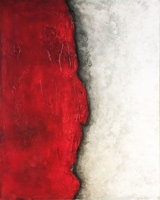 Schicht in Rot   ...   Acryl, Steinmehle und Öl auf Leinwand   ...   80 x 100