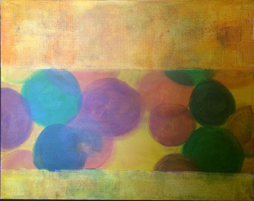 Perlen unter Raster   ...   Acryl auf Leinwand   ...   100 x 80 cm