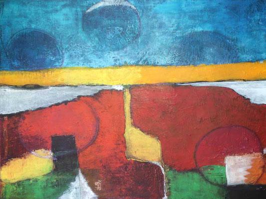 Abstrakte Landschaft   ... Acryl auf Leinwand   ...   110 x 90 cm