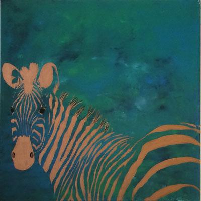 Zebra-kupfer   ...   Acryl auf Leinwand   ...   100 x 100 cm