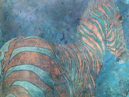 Zebra  ...   Acryl, Pastell auf Leinwand   ...   100 x 80 cm
