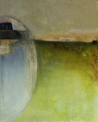 Land unter Wachs   ...   Acryl und Wachs auf Leinwand   ...   80 x 100 cm