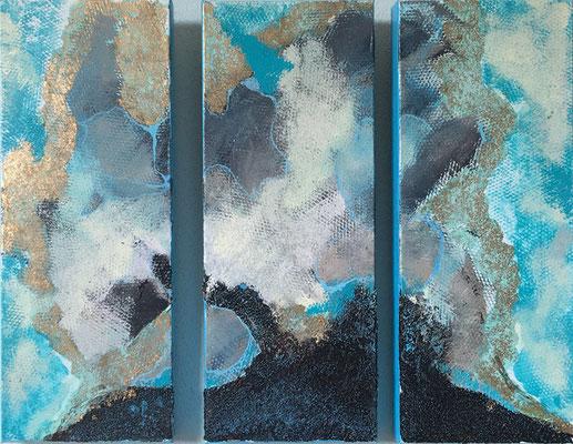 Tryptichon in blau   ...  Acryl, Bitumen, Blattgold  auf Leinwand  ...   3 x 20 x 50