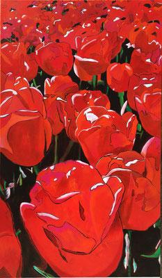 Tulpenwiese   ...   Acryl und Öl  auf Leinwand   ...   80 x 140 cm