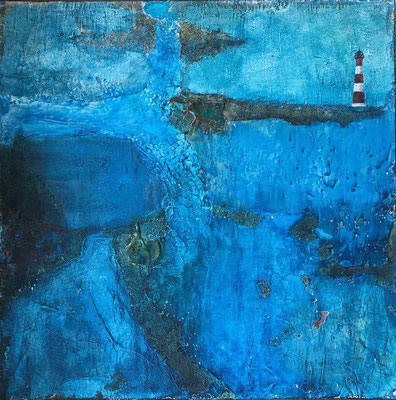 Leuchtturm   ...   Steinmehle und Tusche auf Leinwand   ...   60 x 60 cm