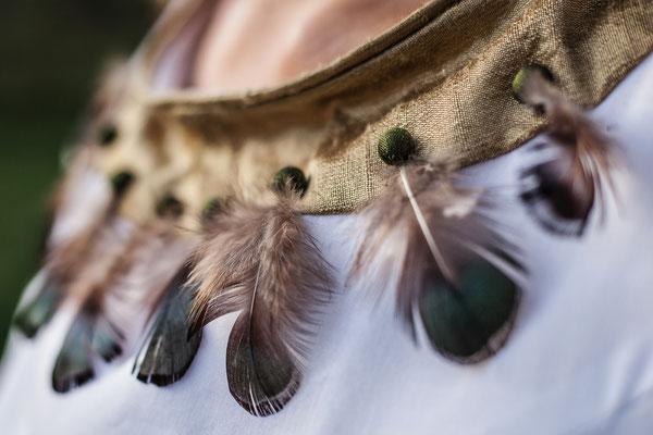 Robe en soie , soie sauvage et plumes Capucine Panfiloff