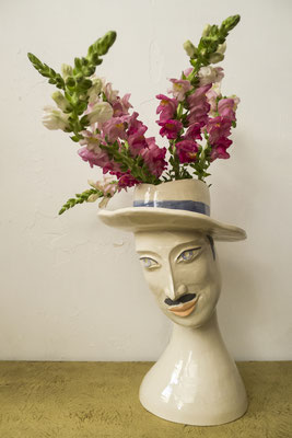"Victor-Victoria is a hand-built unique vase in ""Jasmin"" earthenware, glazed inside and outside so as to make it waterproof. Height 31cm, Width 24cm, Price 1207€"
