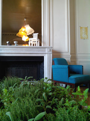 Lounge furniture by Ligne Vauzelle, lamps by BoBoboom, aromatic herb garden by BacSac.