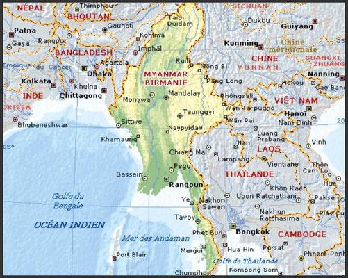CARTE DE LA BIRMANIE (MYANMAR)