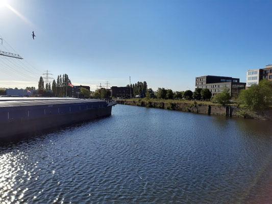 Blick in den Harburger Binnenhafen