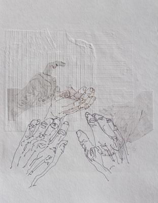 Hände-genähte Hände auf Radierung und Blindprägung-2017-30x30cm