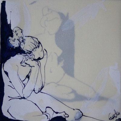 Doppel-Tusche,Acryl,Papier gewachst-2016