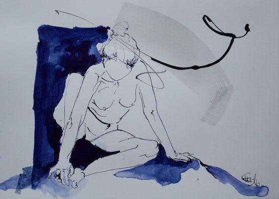 Sitzende 2-Tusche,Tinte-2016-20cmx29cm