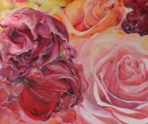 Bild Nr. 2 - Rosen-Leinwand,Acryl-2014-70cmx100cm