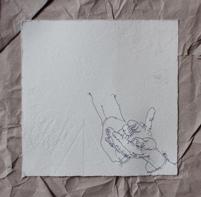 Hände-genähte Hände auf Blindprägung-2017-20,5cmx20,5cm