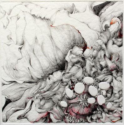 Lebendig-Blindprägedruck,Graphit,Buntstift-2014-20cmx20cm