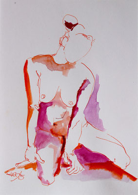 Sitzend rot rosa-Tusche-2015-30cmx21,5cm