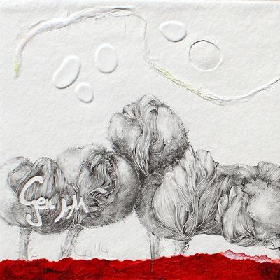 Genesis-Bleistiftzeichnung auf geprägtes Büttenpapier, Naturpapier-2014-20cmx20cm