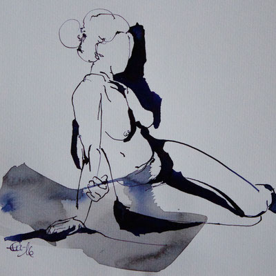 Sitzende 1-Tusche,Tinte-2016-20cmx20cm