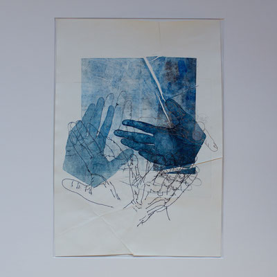 Berührung - Radierung, Farbdruck, Nähgarn - 2018 - 42cmx29,5cm