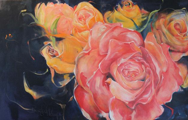 Bild Nr. 4 - Rosen-Leinwand,Acryl-2013-90cmx140cm