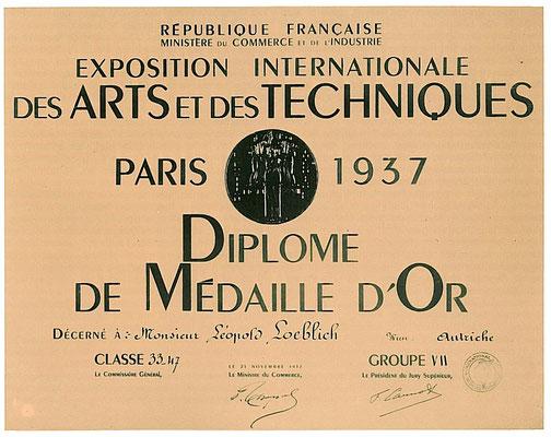 Goldmedaille Weltausstellung Paris 1937