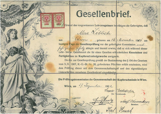 Kupferschmied Gesellenbrief Max Löblich