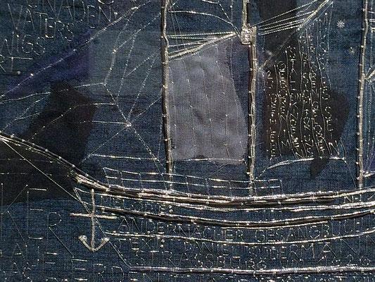 """Detail aus """"Es kommt ein Schiff, geladen"""" von Nadja Hormisch (Freie Metallstickerei auf Seide, 2016)"""