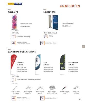 Tarjetería, flyers, dipticos, folletos, roll-up,l-banners, banderas publicitarias, catálogos