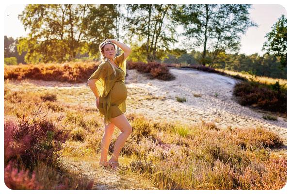 Babybauch im Sonnenlicht der Gifhorner Heide, Fotograf Braunschweig