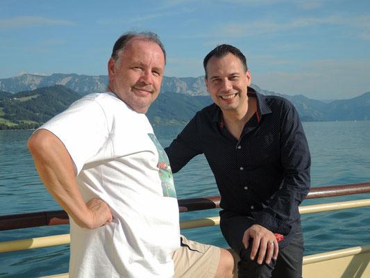 Erich Weidinger und Sebastian Fitzel - am Atterseeschiff 2016