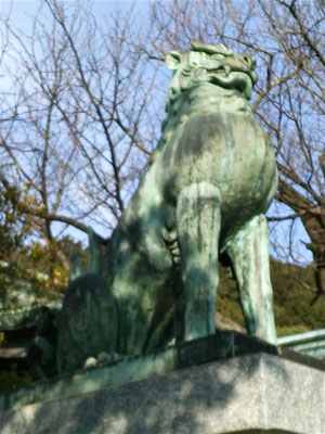 宮地嶽神社楼門前の狛犬吽形の写真