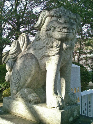 宮地嶽神社の狛犬吽形の写真
