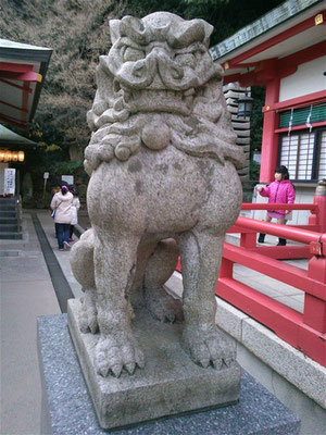赤間神宮拝殿前の狛犬吽形の写真