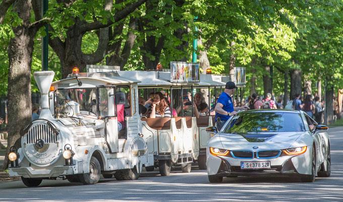 das gibts nur in Wien: kleine Diskussion des Rennleiters Gerhard Wehr mit dem Fahrer des Bummelzuges, dass dieser doch bitte die Laufstrecke freimachen möge...