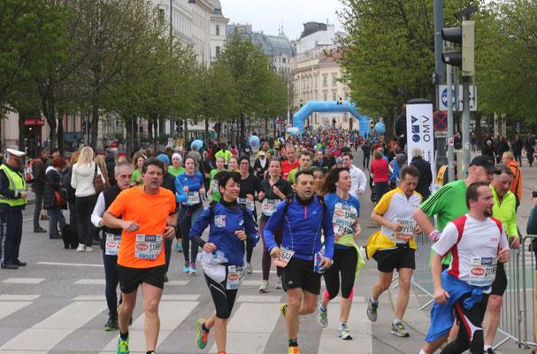 Noch immer viele Halbmarathonläufer knapp vor dem Ziel.