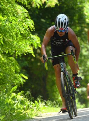 Tanja Stroschneider beim Triathlon in Tulln (Foto zVg)