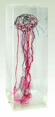 """""""Corazón deshilachado"""" - Serie Vida Interior - 60 x 20 x 20 cm - Caja, textiles - 2014"""