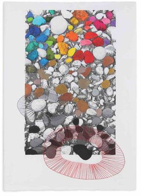 """""""Red pebble"""" - Serie Naturalia - 100 x 70 cm  - Técnica mixta - 2014"""