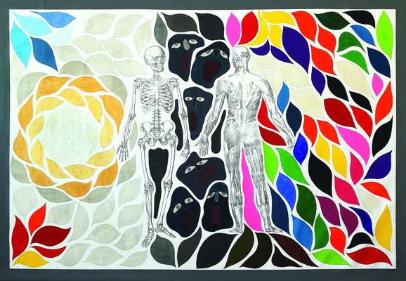 """""""Miedo a los cambios"""" - Serie Los Miedos - 135 x 200 cm - Técnica mixta - 2014"""