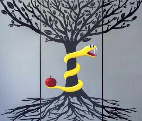 """""""¿Gusta usté?"""" - Serie El Bien y el Mal - 120 x 139 cm - Óleos y acrílicos - 2016"""