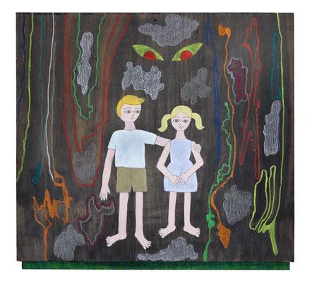 """""""Los miedos de Hansel y Gretel"""" - Serie Los Miedos - 32 x 35 cm - Técnica mixta - 2014"""